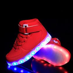 NEW Spring/Autumn Luminous Sneakers Boys Girls Casual LED light Shoes Children Flats USB Charging Lighted Kids Shoes High 03