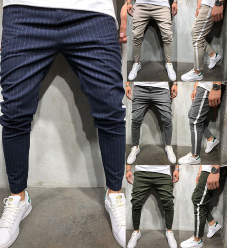 High Sale Men Casual Pants Striped Print Slim Fit Sweatpants Workout Skinny Trouser Long Pencil Pants New