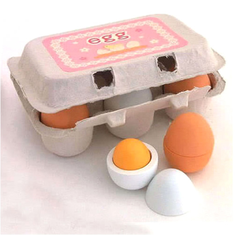 Hot Sell 6pcs Wooden Eggs Yolk Educational Interesting Kid Toy Kitchen Game Food Cooking Toys