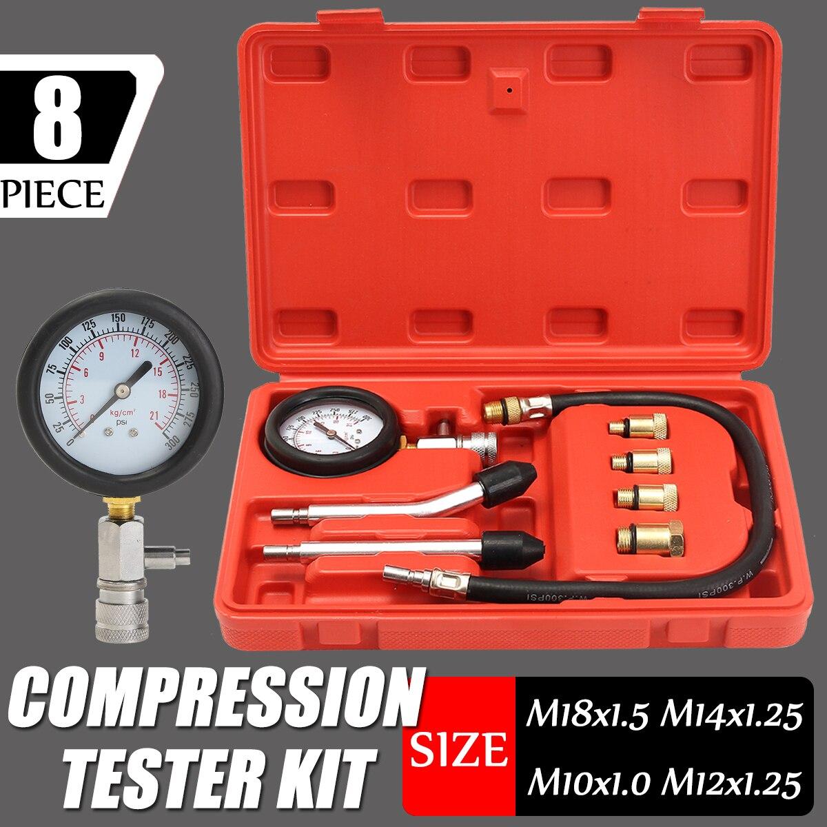 Benzin Motor Manometer Tester Kit Eingestellt Compression Leckage Diagnose Compressometer Werkzeug Für AUTO Auto Mit Fall