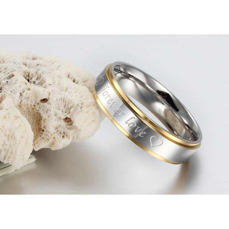 Her or Him Silver-color Forever Love Double Heart Stainless Steel Promise Ring Couple Wedding Engagement Band Jewelry