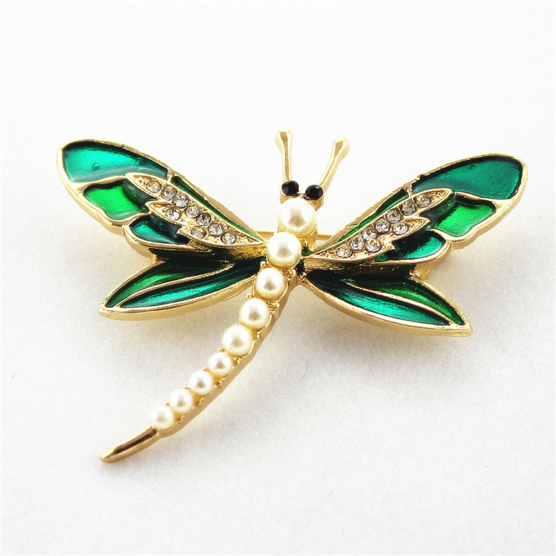 Jewelry Dragonfly Pearl Accessories Brooch-Sets Exquisite Fashion Women's Ladies Enamel