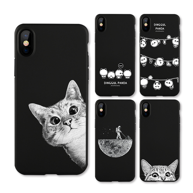 check out 5465f 8b5a6 US $2.84 43% OFF|IIOZO Frosted Matte Case For iphone X 10 Cats Space Moon  Cat Man Pandas Animal Phone Protector Cover Shell for iphone X Cases-in ...