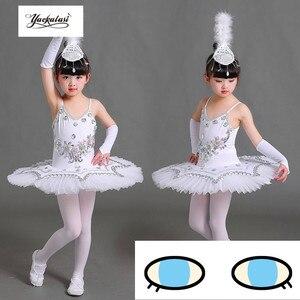 Image 2 - Ballet professionnel Tutu crêpe enfants blanc cygne lac Ballet Costume KidsGirls plume Ballerine Tutu jupes