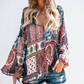 Vintage Women Boho Floral V-Neck <font><b>Blouse</b></font> Casual Long Sleeve Loose Lace Up <font><b>Blouses</b></font> <font><b>Shirt</b></font> Ladies Casual Ethnic Tops Tunic Blusas