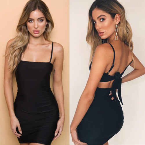 67779cfdb981f Detail Feedback Questions about Women Tie Shoulder Bodycon Rib Cami ...
