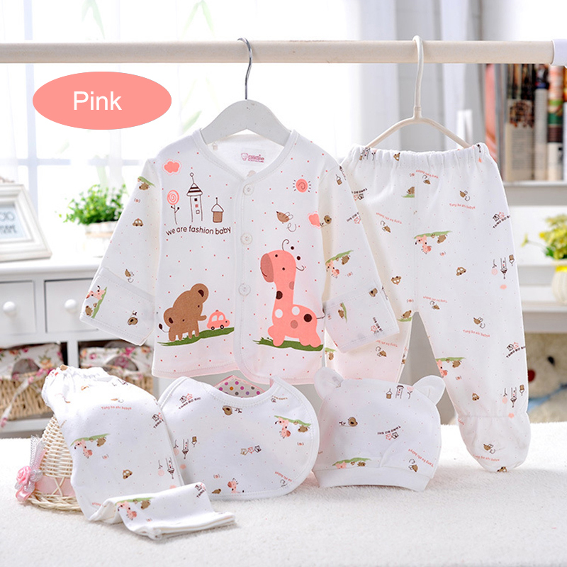 (5pcs/set)Newborn Baby Set 0-3 M Clothing Set Brand Baby Boy/Girl Clothes 100% Cotton Cartoon Underwear With Baby Bib Hat