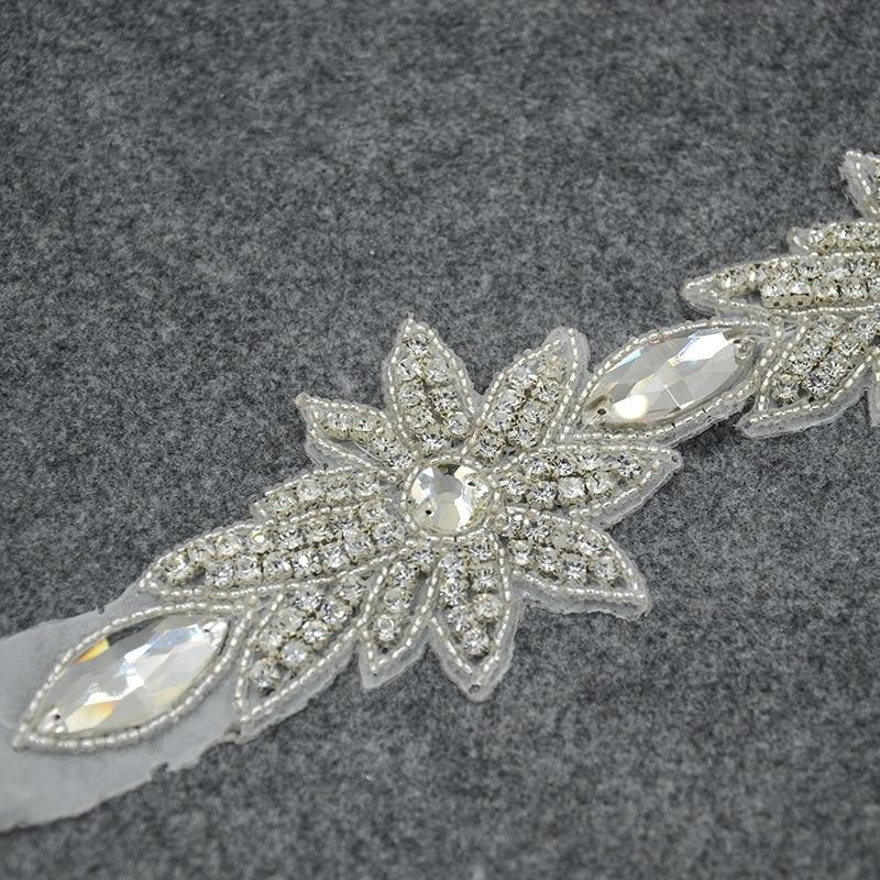 Crystal Rhinestone Applique Trim Iron on Wedding Bridal Belt Sash Dress
