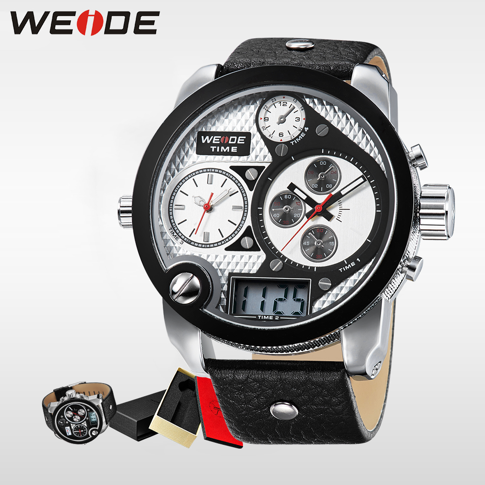 WEIDE Brand Simple Sport Watches Three Time Zone Analog Digital Display Waterproof Big White Dial With Leather Strap clock 2305 pure white dial face ziz time watches navy