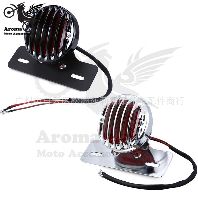 top quality chrome silver black chopper round scooter blinker moto brake light with license plate bracket motorcycle tail light