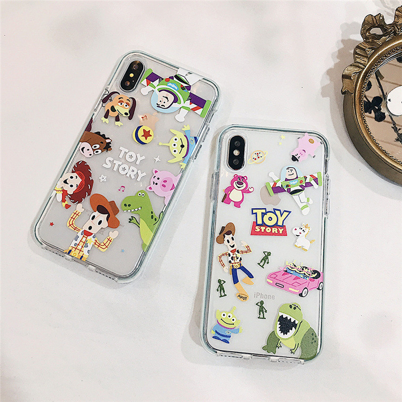 Toy Story cute Colored border case for iphone xs max x xr 7 8 plus Buzz Lightyear clear soft cover 8plus 7plus 6s 6 s