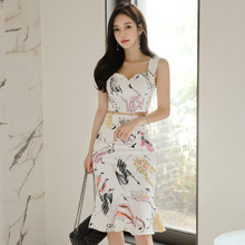 Summer Sexy Outfit Clothes 2 pieces Set Women Sundress 2019 Sleeveless Casual Bodycon Skirt Suits