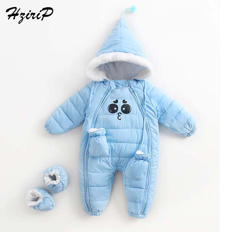 HziriP Winter 2017 Boys Girls Rompers Down Coats Cute Plus Velvet Cotton Kids Clothing Fashion Infant Hooded Jumpsuit & Gloves 6m 3years baby winter overall toddler warm velvet bear hooded rompers infant long pants kids girls boys jumpsuit pink blue