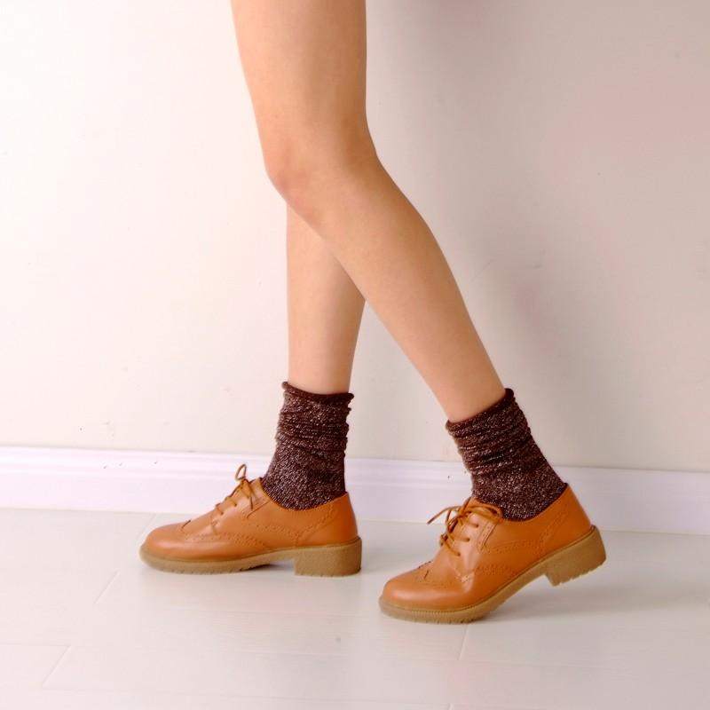Fashion Long Socks Women Winter Cotton Happy Socks Funny Shiny Loose Glitter Socks Thick Warm Edge Curl Elegant Christmas Socks 9