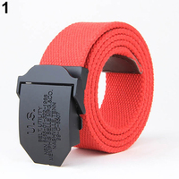 Men Fashion  Casual Solid Color Buckle Soliders Military Waist Belt