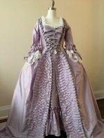 Пользовательские Рококо Мария Антуанетта Платье Rococo 18th века рюшами платье одежда