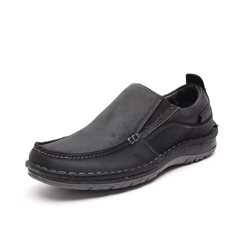 LINGGE/кожаная повседневная обувь; официальная Мужская обувь; лоферы; мужская кожаная обувь; слипоны; оксфорды; мокасины;#7287 - Цвет: black