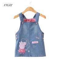 Baby Girls Dress 2017 High Quality Cartoon Peppa Strap Vest Dresses Lovely Children Button Denim Clothing