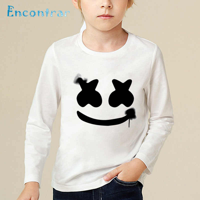 7c8e9561315 ... Children DJ Marshmello Smile Print Funny T shirt Baby Boys Girls  Comfortable Long Sleeve Tops Kids ...