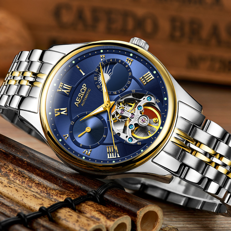 Aesop 2018 Fashion 3D Logo Engraving Blue Stainless Steel Men Tourbillon Mechanical Watch Top Brand Luxury Skeleton Watches forsining transparent case 2017 fashion 3d logo engraving men watches top brand luxury mechanical skeleton wrist watch clock men