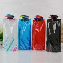 Outdoor foldable cycling climbing water bag plastic portable camping fruit juice bottle milk bag promotion gift customize logo(China)