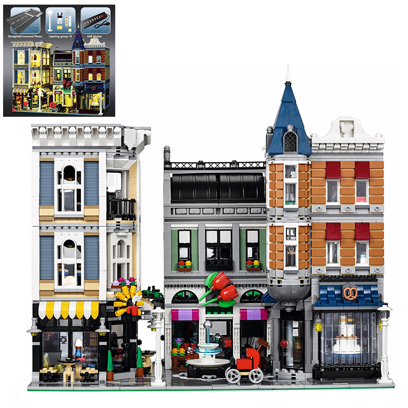 Building Blocks City Street 15019 15019B light Compatible 10255 Assembly Square Bricks Lepin City Street Toys For Kids in stock with light 15019b 4122pcs lepin 15019 4002pcs assembly square city serie model building kits brick toy compatible 10255