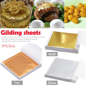 100pcs/lot Gold Foil Decor Golden Copper Leaf Cover Sheets Gilding DIY Art craft paper Gilding Craft Decorative Sticker decor(China)