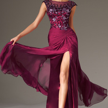Evening-Dresses Cap-Sleeves Party-Gown Chiffon Burgundy Formal Appliqued Front-Slit O-Neck