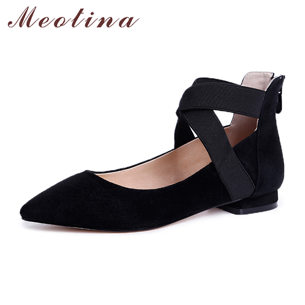 Meotina Genuine Leather Shoes Women Ballet Flats Moccasins Pointed Toe Suede Leather Shoes Zipper Cross-tied Shoes 2018 Spring meotina women flat shoes ankle strap flats pointed toe ballet shoes two piece ladies flats beading causal shoes beige size 34 43