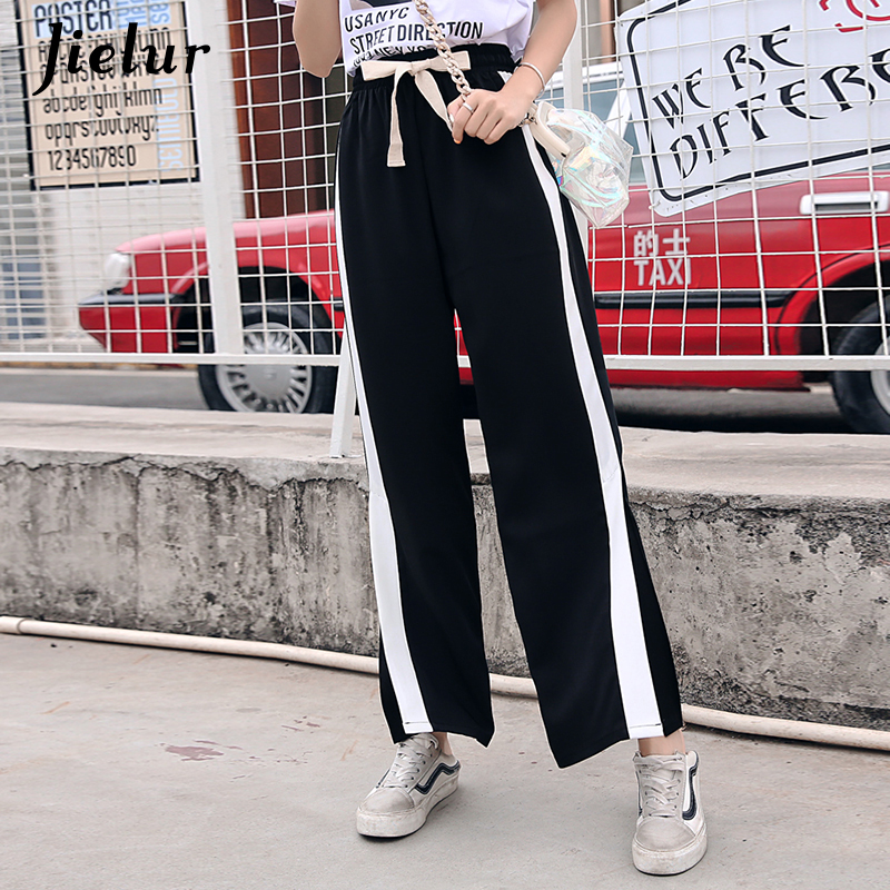 Jielur 2019 Korean Casual Wide Leg Pants Split Capris Side Stripe Harajuku Trousers for Women BF High Waist Pants S-XXL Dropship