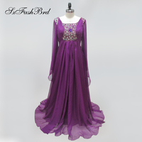 Vestido De Festa Square Neck With Beading Long Sleeves A Line Kaftan Long Formal Party Evening Dresses Dress in Arabic Style