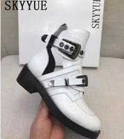 Новые черные мотоциклетные ботинки из натуральной кожи с пряжкой и ремешком; ботильоны с круглым носком и блестками; женская обувь