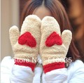 Free shipping New arrival Hot sale New Cute Love Heart Knitted Gloves women Faux Fur Winter Spring Mittens 4 colors