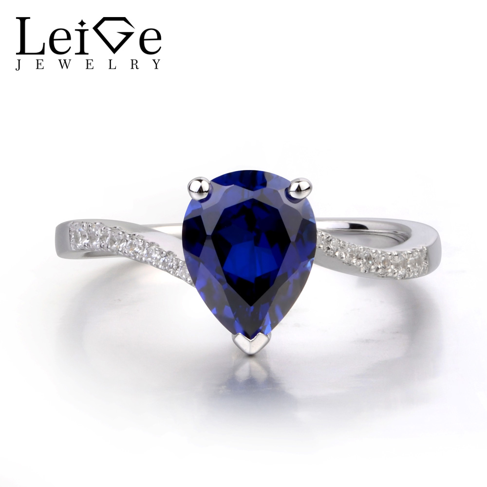 Leige Jewelry Sapphire Engagement Rings for Women Sterling Silver 925 Fine Jewelry Pear Shaped Ring Blue Gemstone Tear Drop leige jewelry pear shaped engagement rings for women lab alexandrite promise ring sterling silver 925 fine jewelry pear gemstone