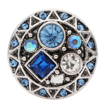 10pcs/lot New Geometric Color Rhinestone 18MM snap button for snaps jewelry Fit 18mm Snap Button Bracelets