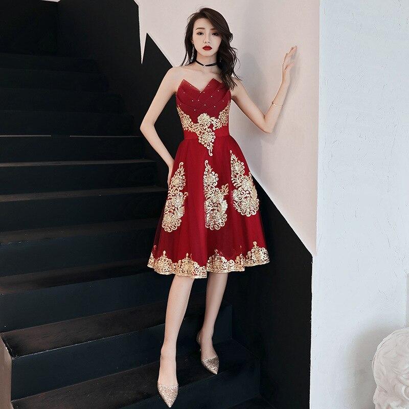 Burgudny chinois Oriental hors épaule mariage femmes Sexy court Cheongsam robe de soirée élégante princesse robes moderne Qipao