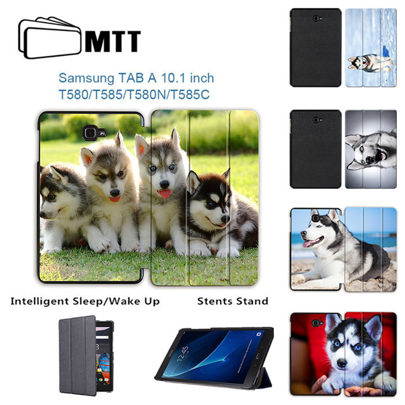 MTT SIBERIAN HUSKY Case For Samsung Galaxy Tab A a6 10.1 2016 T585 T580 SM-T580 T580N Smart Case Cover PU Leather Funda Tablet magnetic wood pattern stand smart pu leather cover for samsung galaxy tab a a6 t580 t585 10 1 tablet funda case free film pen