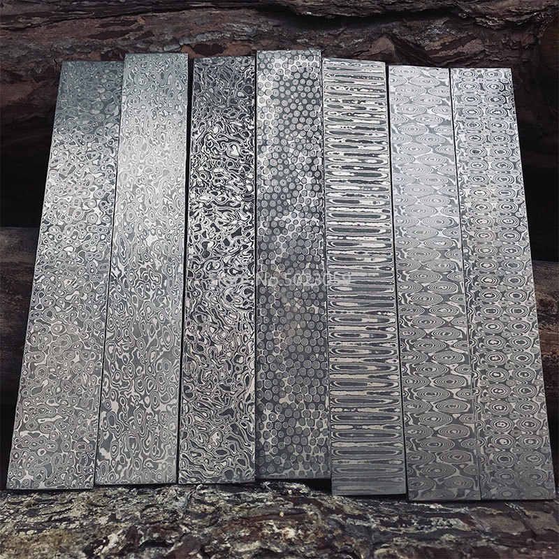 5 kinds Damascus steel DIY knife Making Material Rose Sandwich Pattern steel Knife blade blank has been Heat Treatment