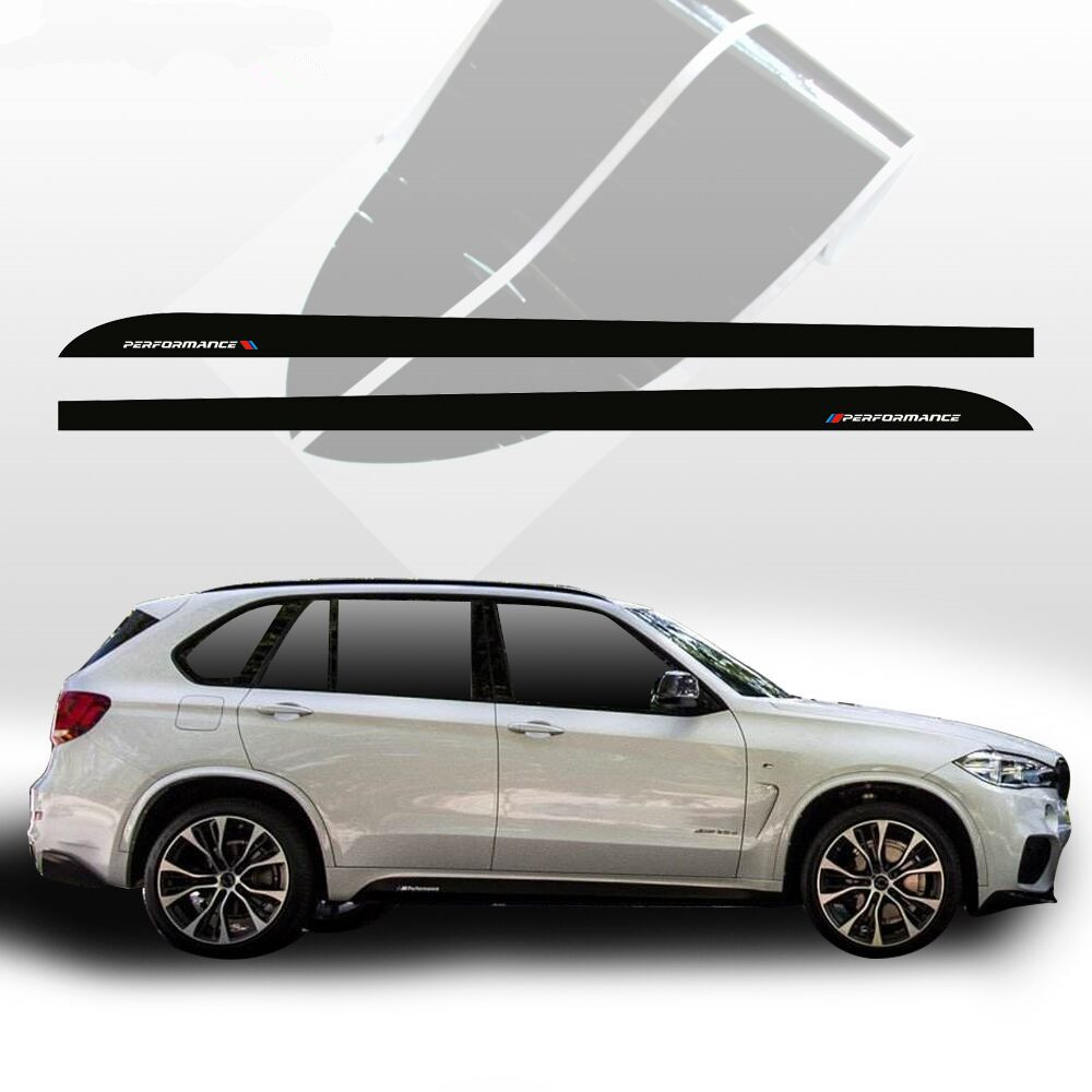 5D Carbon Fibre Car Styling M Performance Racing Side Stripes Sill Skirt Vinyl Decal Car Sticker for BMW X5 F15 F85  Accessories