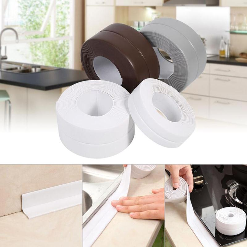 Waterproof Kitchen Bathroom Bathtub Edge Wall Sealing Tape Mould Proof Adhesive 1 roll pvc material kitchen bathroom wall sealing tape waterproof mold proof adhesive tape 3 2mx2 2cm