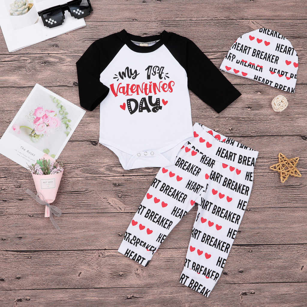 24ab78143bfd9 ... New clothing boy girls clothes my 1st Valentine Newborn Infant Baby Boy  Girl Letter Romper Tops ...