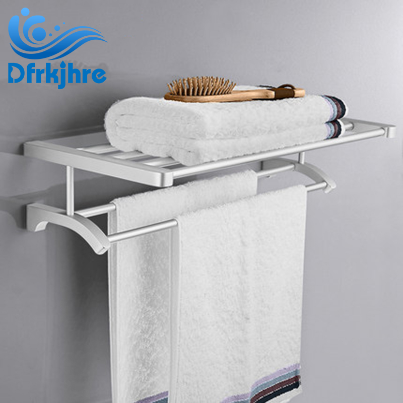 Bathroom Towel Holder Wall-mounted Space Aluminum Towel Rack Bath Towel Shelf aluminum wall mounted square antique brass bath towel rack active bathroom towel holder double towel shelf bathroom accessories