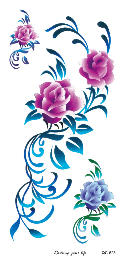 Temporary tattoos Waterproof tattoo stickers body art Painting for party decoration colorful rose hand leg design