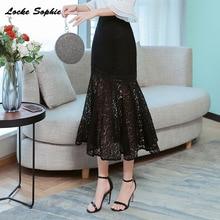 1pcs Hight waist skirts Womens Plus size mermaid 2019 Autumn Lace hollow out Fishtail Black skirt Ladies Casual