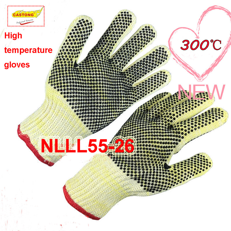 CASTONG 300 degrees High temperature gloves high density Silica gel Embellishment fire gloves Baking Anti-scald safety gloves цена
