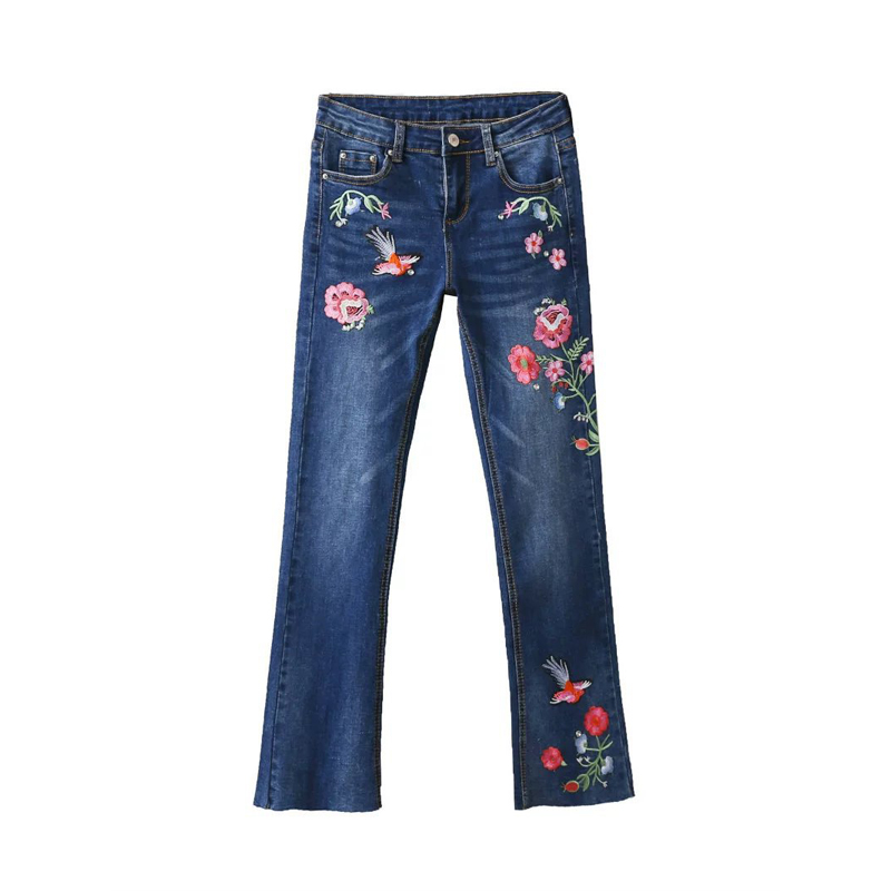 Women Embroidery Jeans Dark Blue Floral Vintage Flare Pants Jeans Casual Brand Trousers For Women Lady