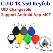 Tag chave writeable mutável para mf s50 1k 13.56mhz suporte android app mct cuid uid mutável rfid keytag nfc keyfob com block0