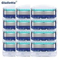 12 шт./упак. Giulietta Для мужчин бритвенных лезвий для бритья кассеты уход за лицом Для мужчин бритья лезвия, совместимые с Gillettee Fusione