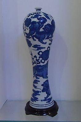 Stará sběratelská ruční práce JINGDEZHEN Porcelánová malba Lion Lucky High Vase