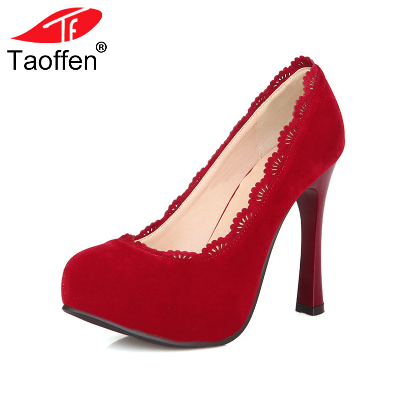TAOFFEN Women Thin High Heel Shoes Platform Pointed Toe Brand Female Heeled Pumps Heels Shoes Plus Big Size 30-48 P16619 lasyarrow brand shoes women pumps 16cm high heels peep toe platform shoes large size 30 48 ladies gladiator party shoes rm317